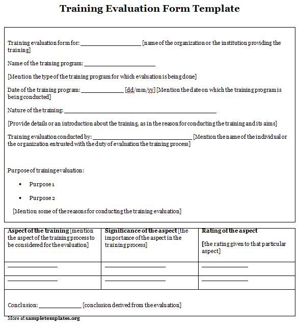 Training Evaluation Form Evaluation Form  Sample Evalution
