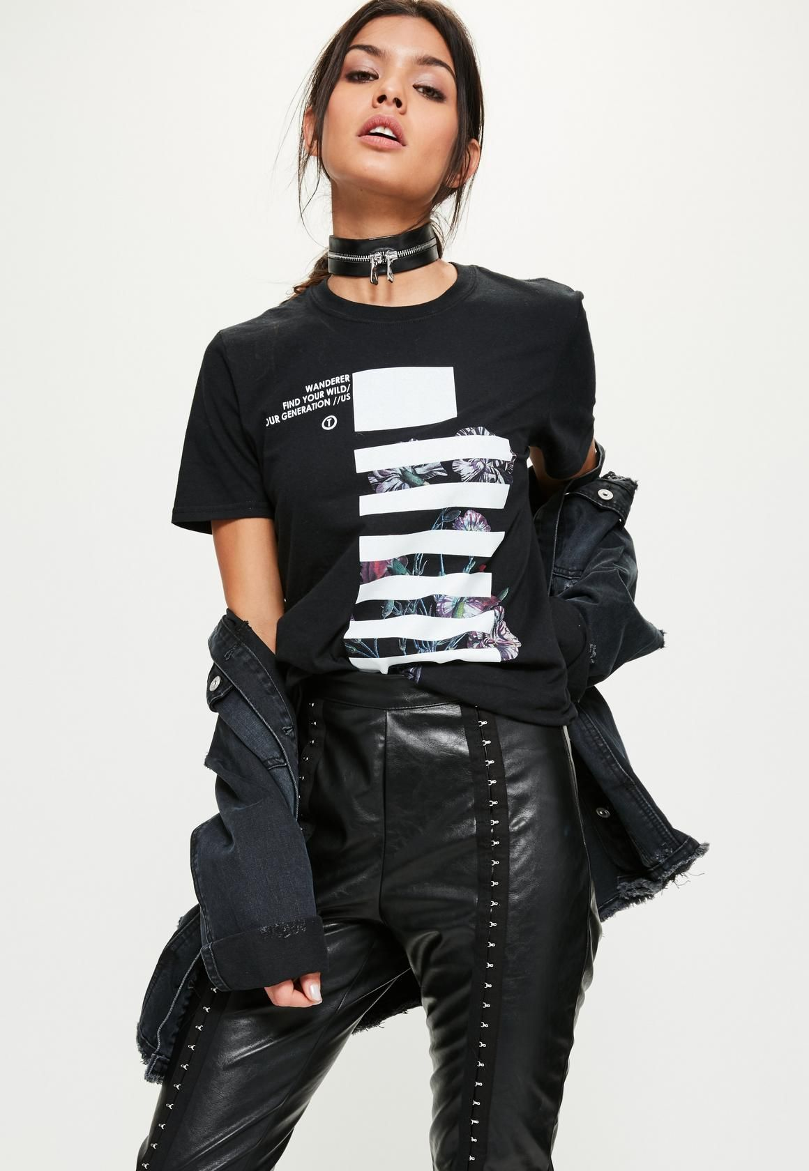 54afaf440 Missguided - Black Mono Graphic Oversized T-Shirt | clothes and ...