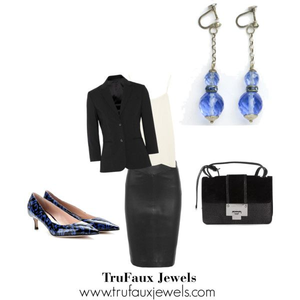"""""""Wearing Statement Earrings to the Office"""": Add a touch of blue to this black and white classic outfit with these 1920s blue crystal ball earrings. You can wear this ensemble just about anywhere and stand out from the crowd!"""