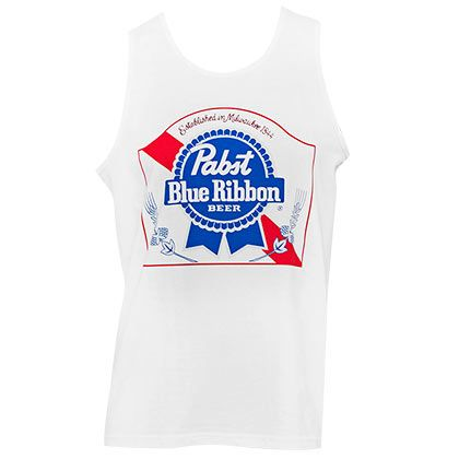e9f60519de9297 Men s Pabst Blue Ribbon beer logo t-shirt. Comes in grey and features red  PBR box logo on front. Made from a blend of cotton and polyester and  officially ...