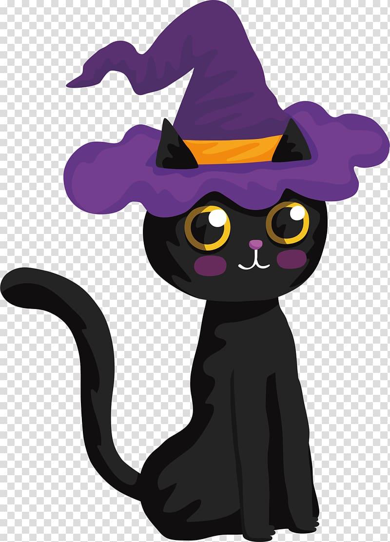 Black Cat With Purple Witch Hat Black Cat Halloween Witch Lovely Halloween Black Cat Transparent Backg Black Cat Illustration Cat Drawing Tiger Illustration