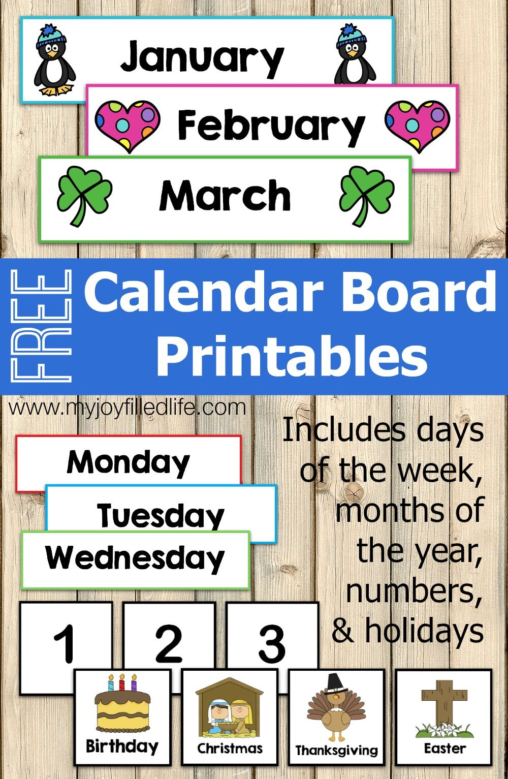 Calendar Ideas Early Years : Free calendar board printables homeschool