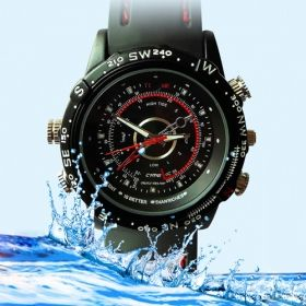 This fantastic waterproof sports watch has a stylish face plate and band that lets you record videos secretly and in style. It looks like a normal watch, but equipped with awesome extra features, like a hidden camera for video recording and a USB cable for charging and data transfer. It uses an internal Li-ion battery as a power source. Only price at $19.99 with 8GB memory built-in. Awesome!