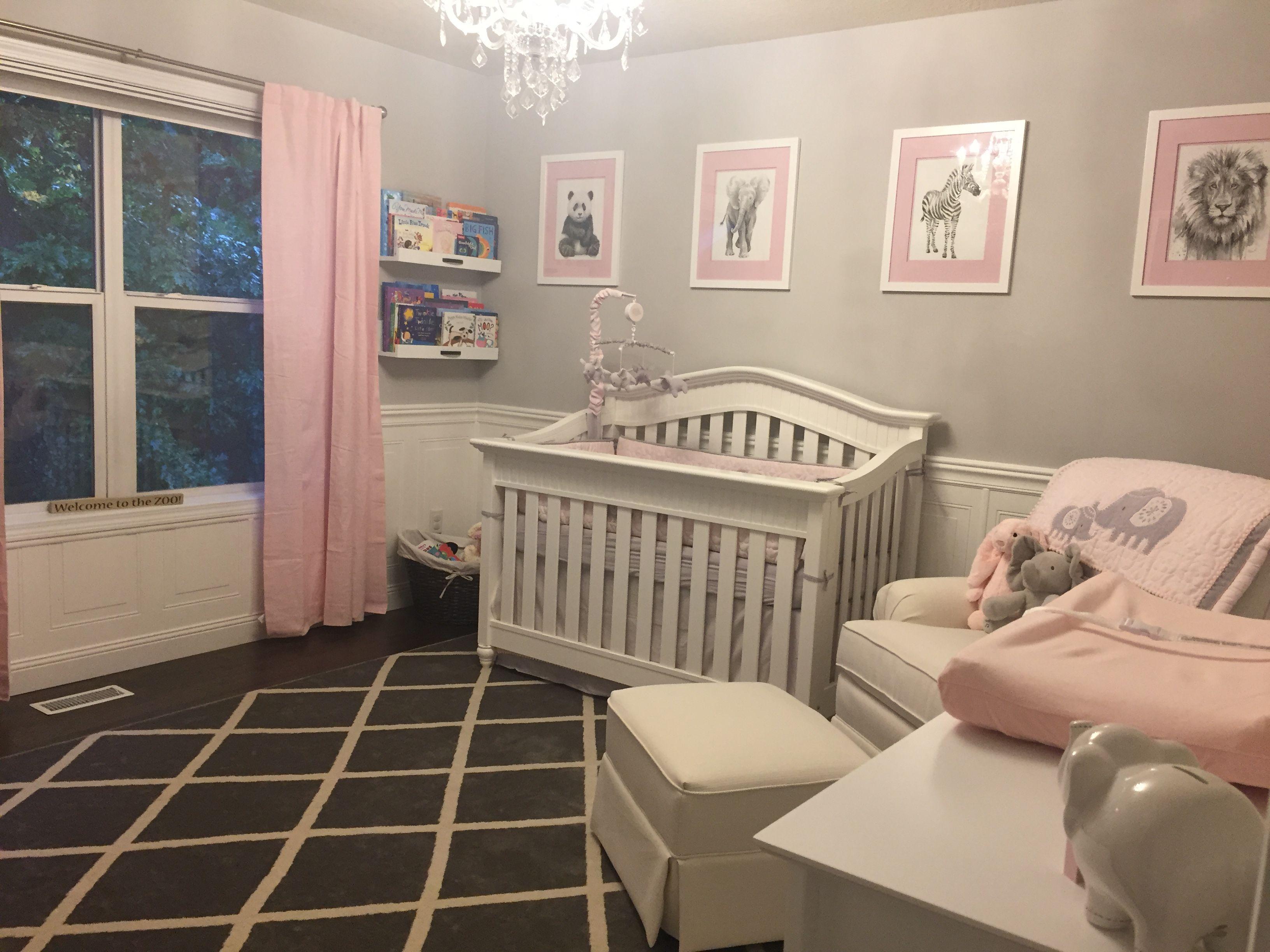 Baby Girl Nursery Zoo Animals Pink Grey White Elephant Panda