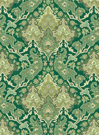 Damask Tapete Pushkin von Cole  Son - Emerald Green  Lime-27682 - retro tapete wohnzimmer