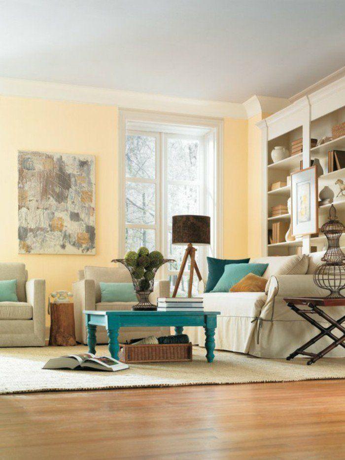 Couleur de peinture pour salon taupe meubles beiges parquet clair lampe marron table basse bleu