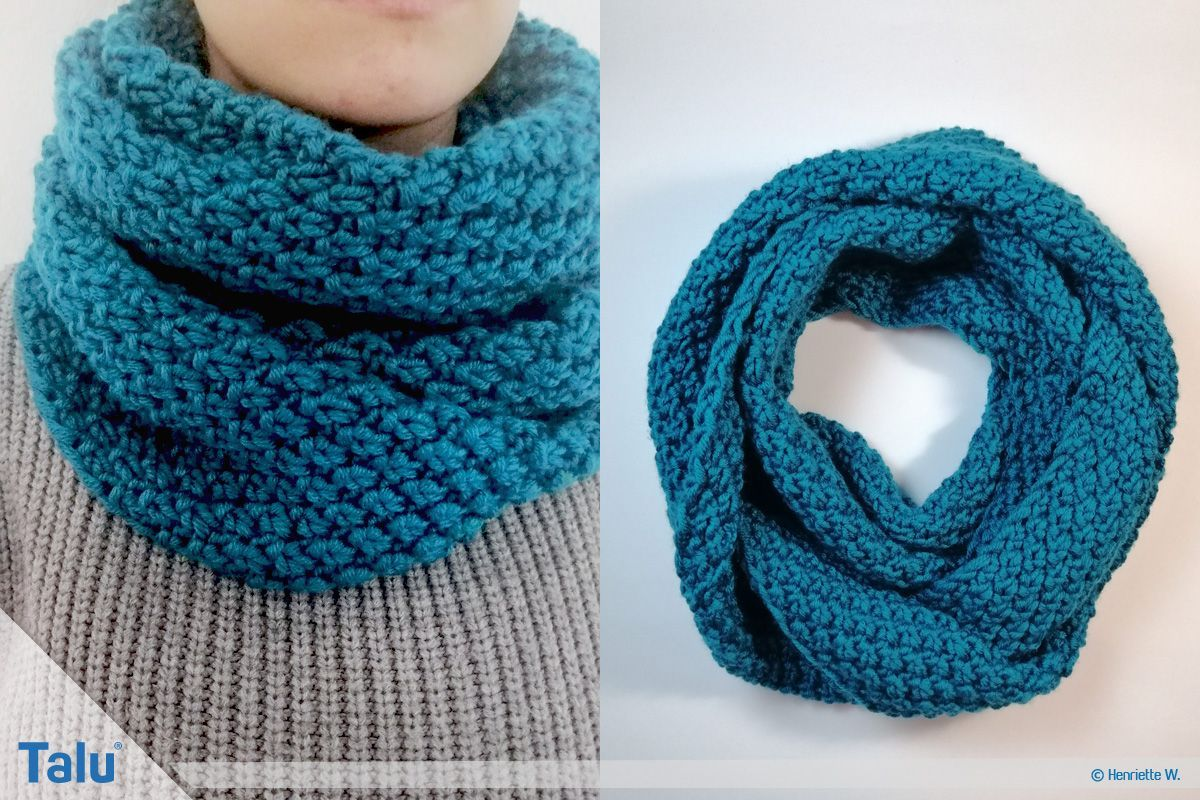 Photo of Knit tube scarf – free knitting instructions for beginners