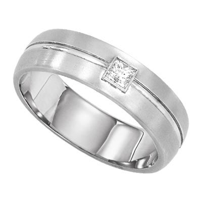 Princess cut mens platinum wedding band from Lieberfarb Rings