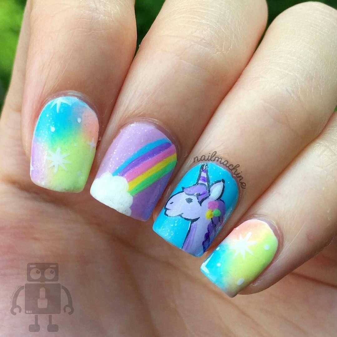 Uñas unicornio   Uñas   Pinterest   Unicorn nails, Art nails and Makeup