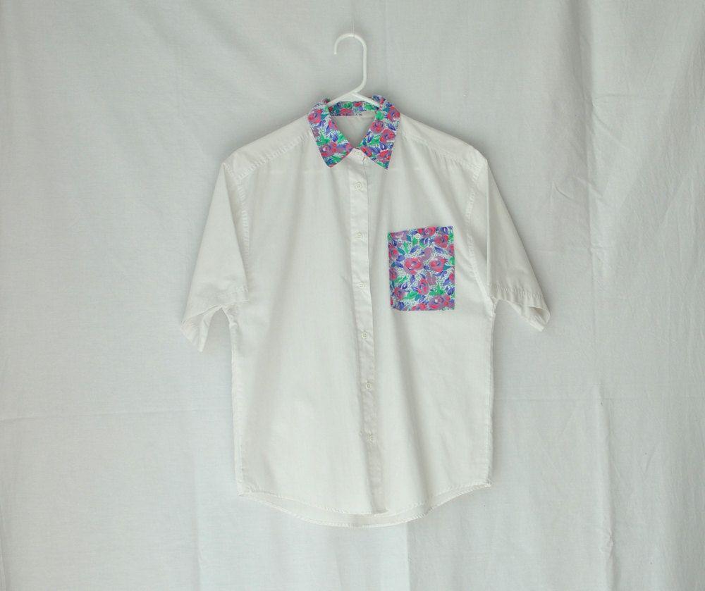 Vintage 90s Button Up Shirt -Floral Contrast Collar -Short Sleeves   Vintage via Etsy