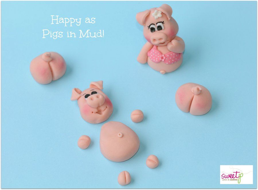 Pigs in Mud.  Cake Toppers made with love from fondant.