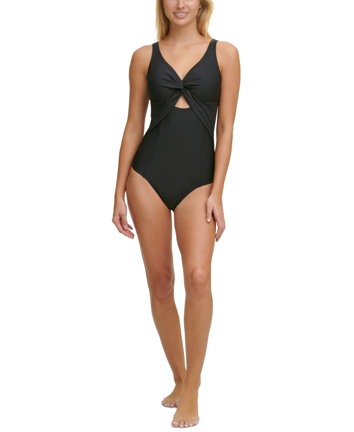 Dkny Peek A Boo Twist One Piece Swimsuit Reviews Swimsuits Cover Ups Women Macy S In 2021 One Piece One Piece Swimsuit Black One Piece Swimsuit