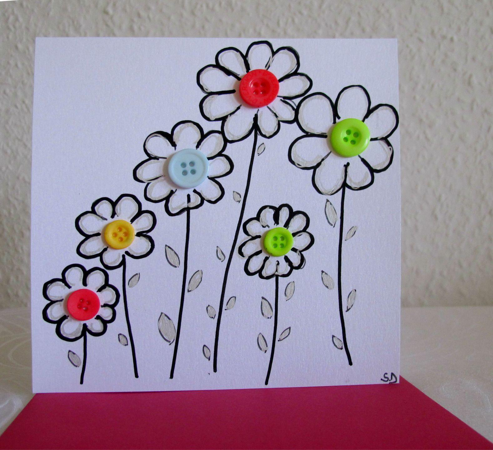 carte originale petites fleurs carte anniversaire carte boutons diy pinterest carte. Black Bedroom Furniture Sets. Home Design Ideas