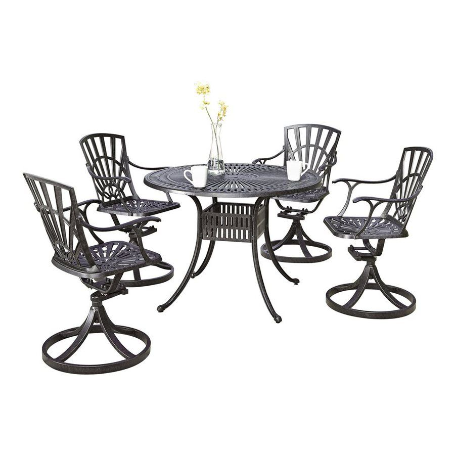 Home Styles Largo 5 Piece Gray Metal Frame Patio Dining Set Lowes Com Patio Dining Set Outdoor Dining Set Home Styles
