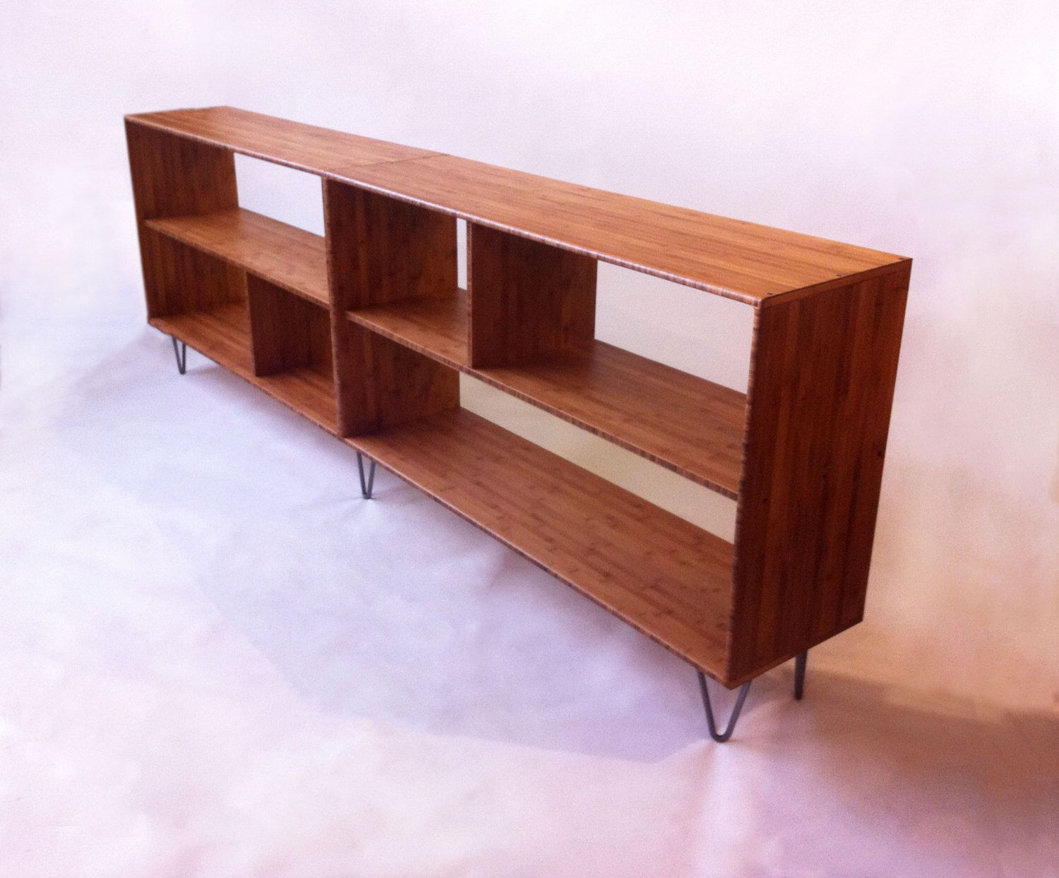 Mid Century Modern Style Bookcase   Record Shelf   Entry Way Table With  Shelves   Solid