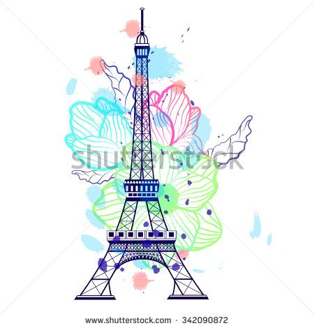 Drawing Color Eiffel Tower In Paris France Flower Background
