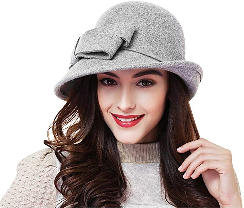 Women Solid Color Winter Hat Wool Cloche Bucket with Bow Accent ... cf39df60a0ea