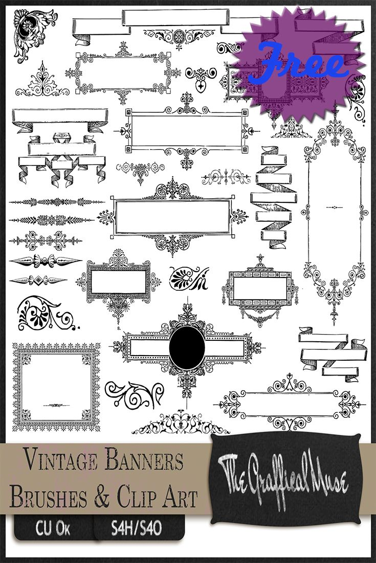 Free Photoshop Brushes, Vintage Banners, Frames, Ornaments, PNG Clip ...