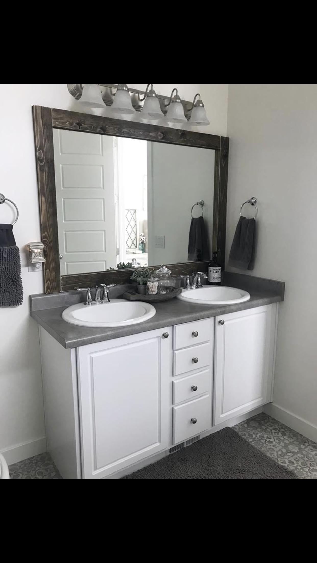 Wood Trim Mirror Bathroom Mirrors Diy Basement Bathroom Design