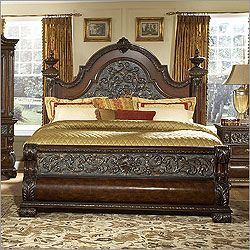 Grand and majestic, the Treviso Panel Bed by Pulaski Furniture brings the  luxury of Old World Italy into your home.