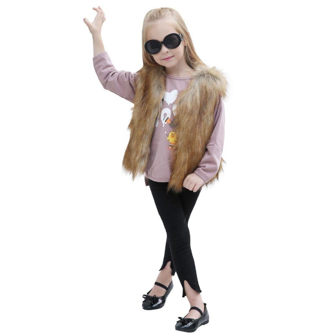 Baby girl faux fur waistcoat coat kids autumn winter thick warmer