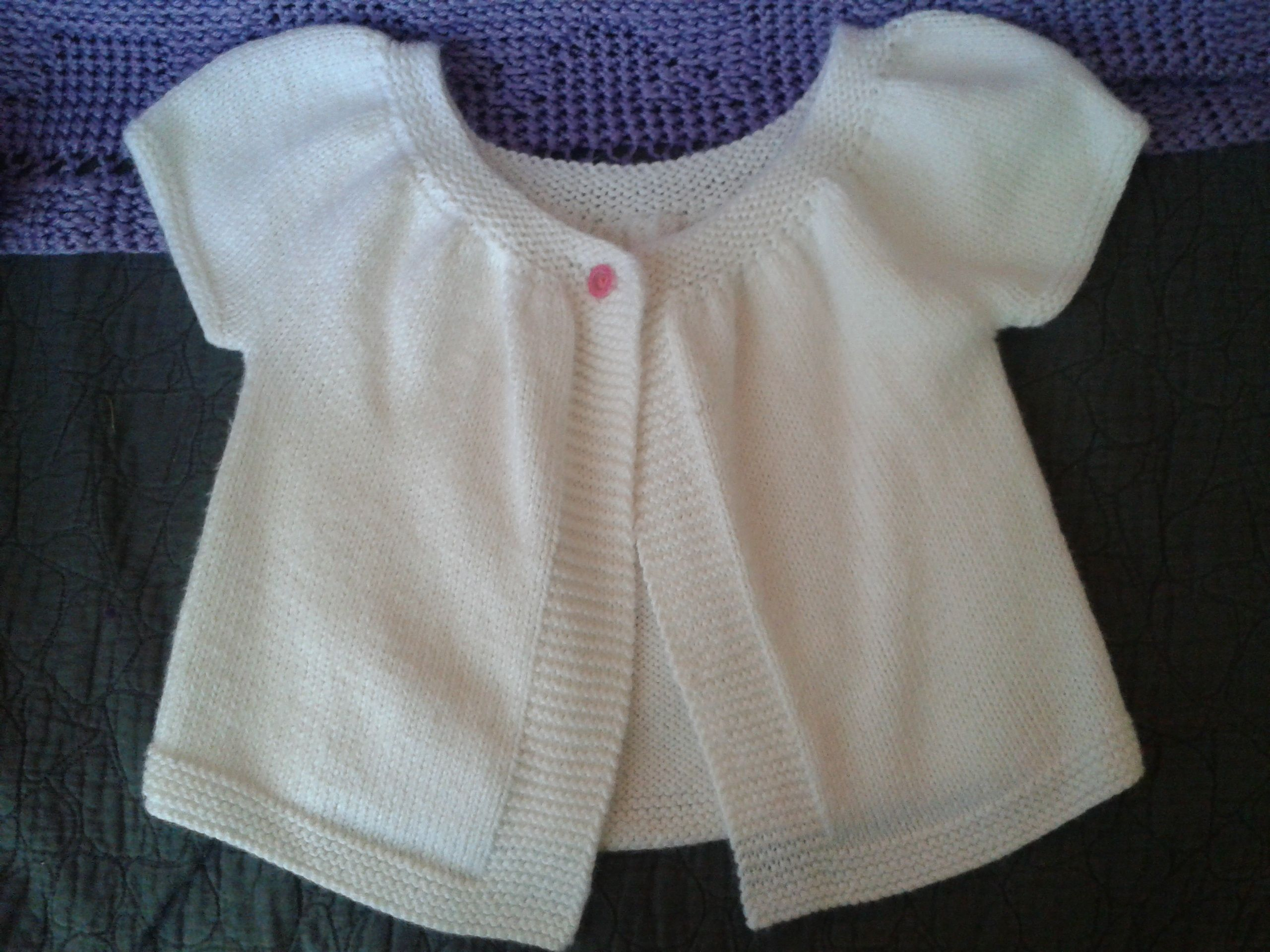 Short sleeve white cardigan with hot pink button | Things Created ...