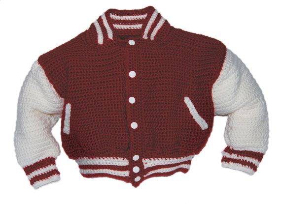 Lettermans Jacket Crochet Pattern, Team Jacket, Sports Jacket, Crochet Jacket, Baseball Jacket, Basketball Jacket, Football Jacket