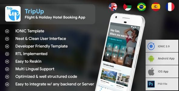 Flight & Holiday Hotel Booking Android + iOS App Template