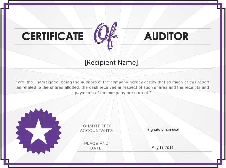 What Is AuditorS Certificate With Sample  Auditing