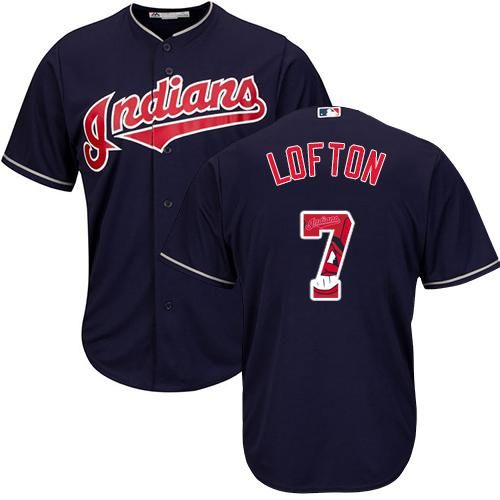 aa6a37bf4 Indians  7 Kenny Lofton Navy Blue Team Logo Fashion Stitched MLB Jersey