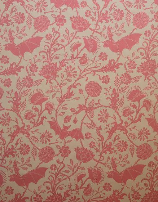 bat and venus flytrap wallpaper - in pink!