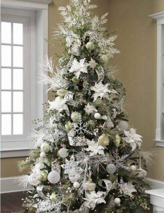 Tendencia 2014 en árboles de Navidad | Actual Tendencias | Árbol de navidad plateado, Decoracion de arboles, Árboles de navidad blancos
