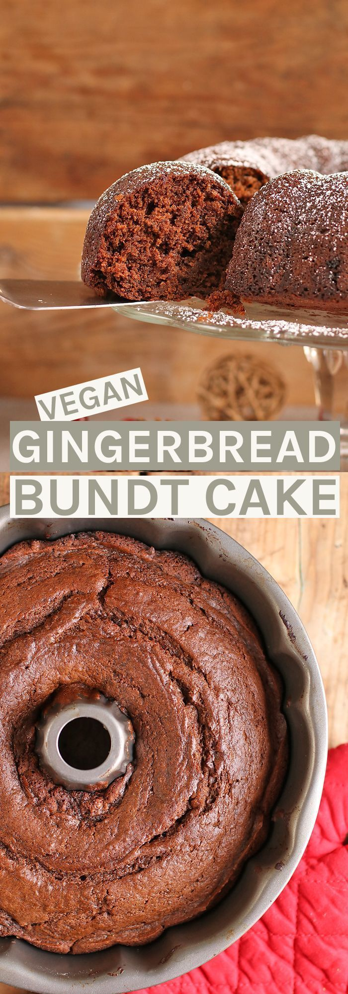 This seasonal vegan Gingerbread Bundt Cake is the perfect treat to serve at your holiday parties this year. Click the picture for the full recipe. #holidayparties