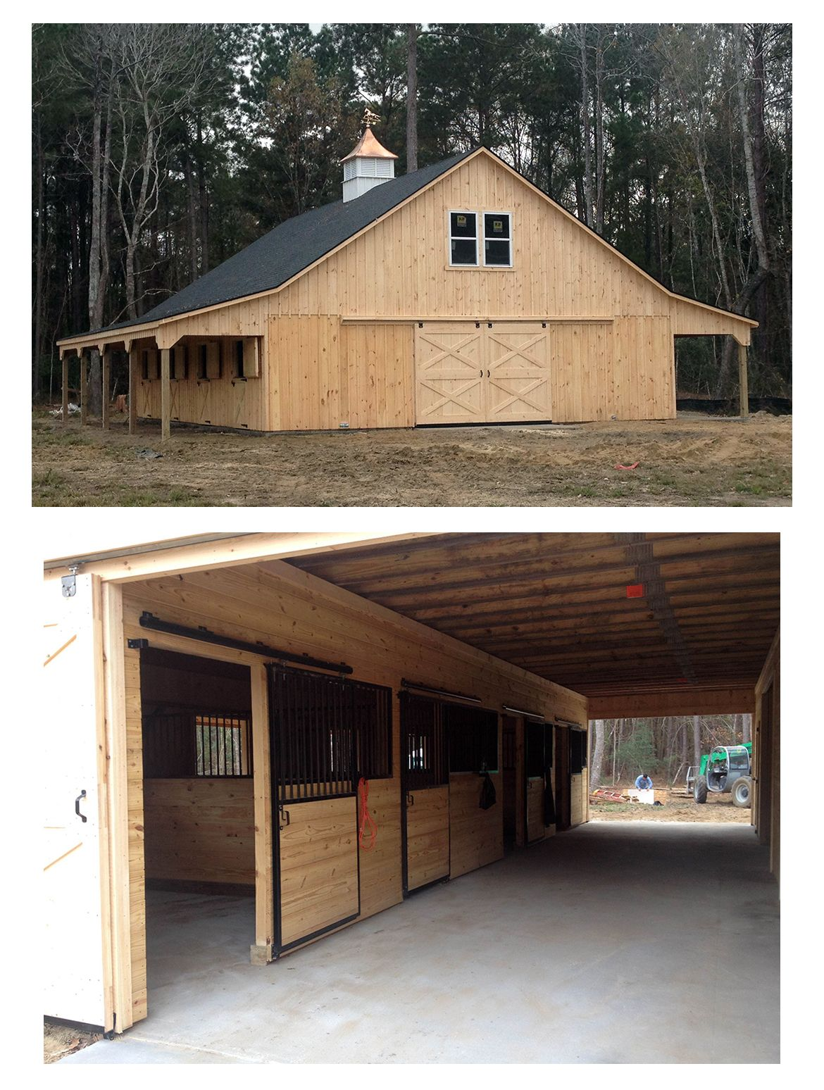 36x48 high profile modular horse barn includes 2 8 overhangs 4 12x12 stalls 12x12 tack feed room 12x12 lined wash stall 12x24 living quarters on