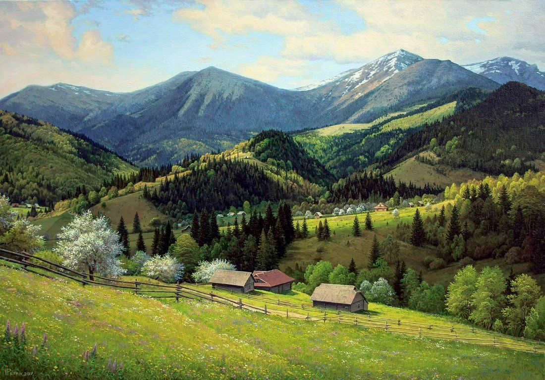 Spring Mountain Landscape Oil Painting Realism Oil Painting Original Large Painting Oil Painting Landscape Mountain Landscape