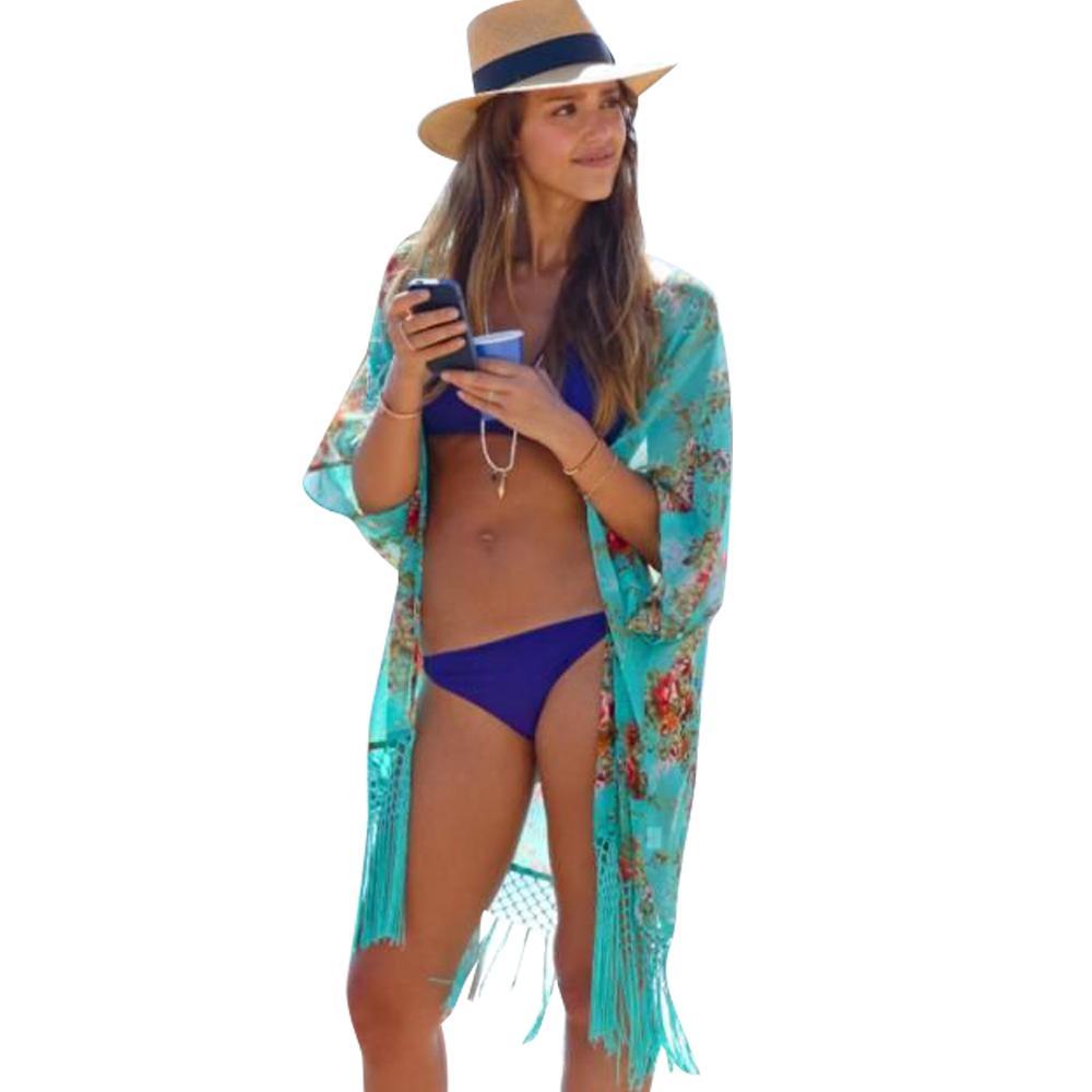 Summer Beach Cover Up Bikini Boho Dress Swimwear Bathing Suit Kimono Tunic US