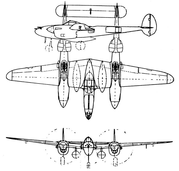 Drawing: side, top and front views of Lockheed P-38