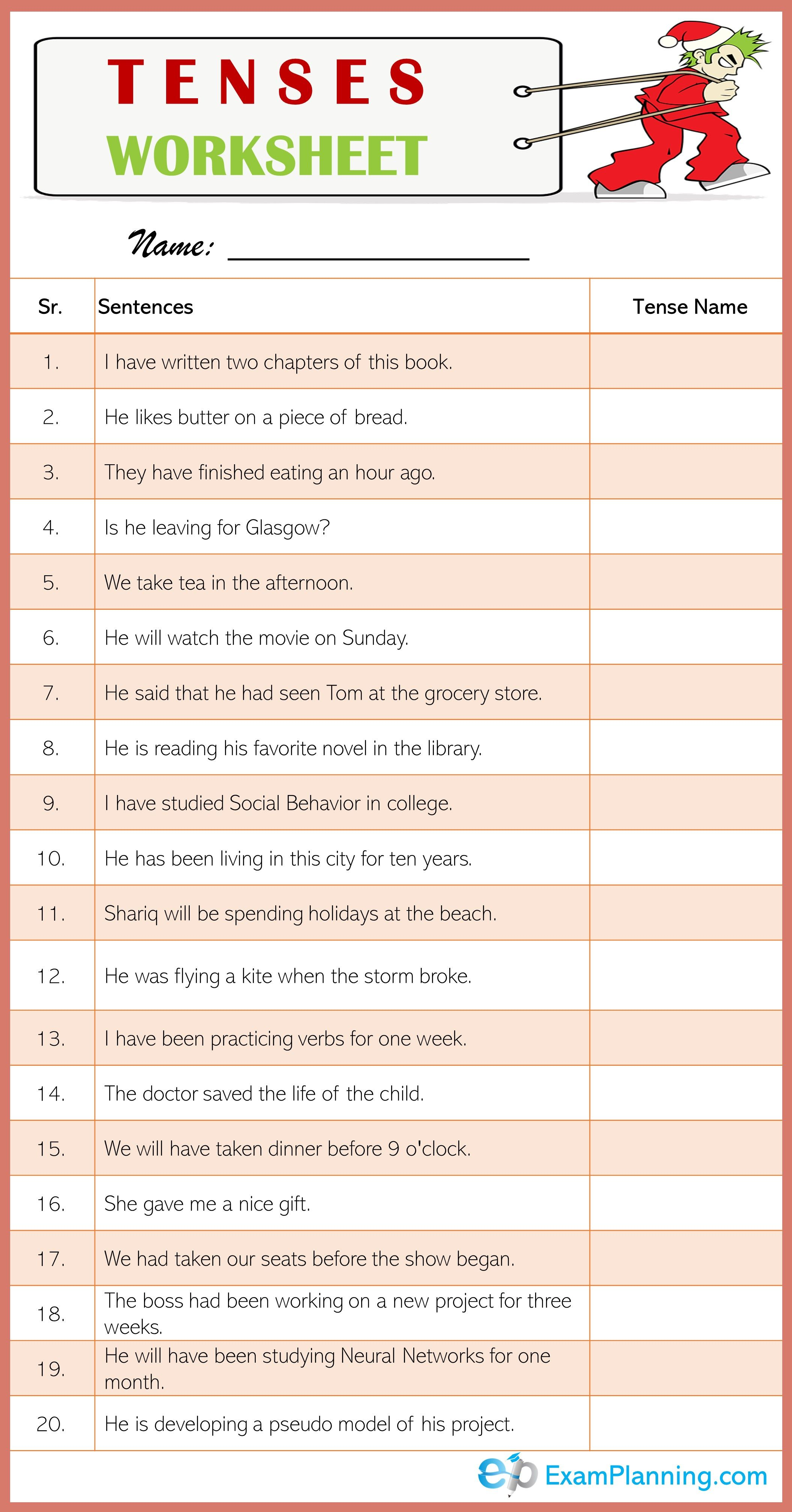 Tenses Worksheet 20 Sentences Of Mixed Tenses