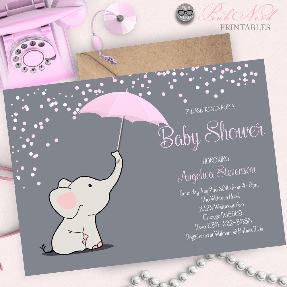 Elephant baby shower invitation Elephant holding Umbrella baby ...