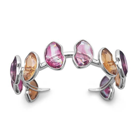 Multicolor Abstract Glass Cuff Bracelet