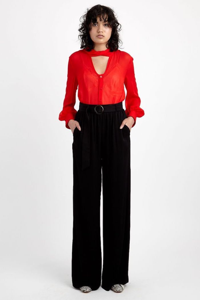 3011aa7a07 red shirt, casual wear for women, black wide fit trousers, black bels,  white and black pointed shoes