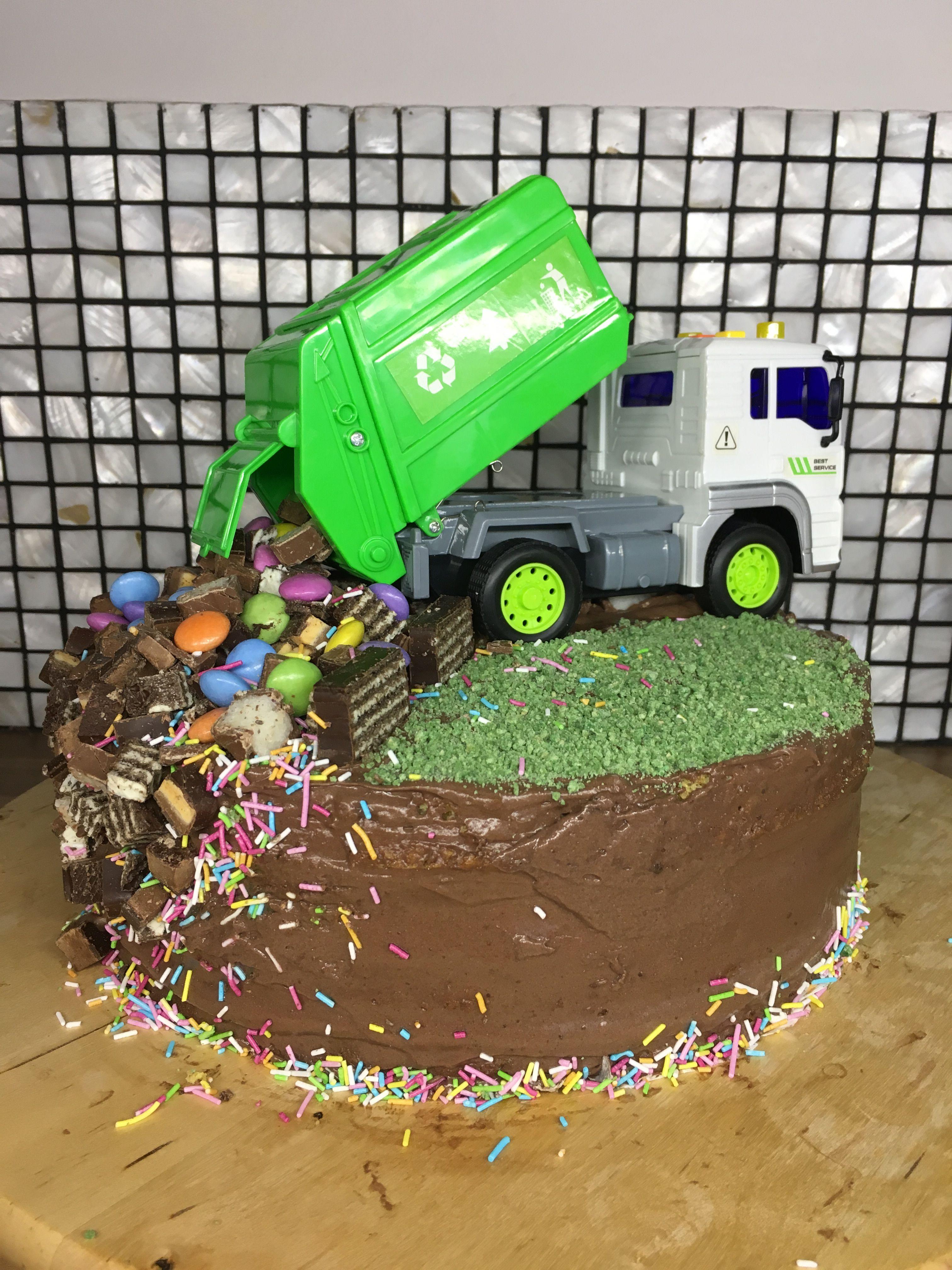 Sensational Garbage Truck Cake With Images Truck Birthday Cakes Truck Personalised Birthday Cards Veneteletsinfo