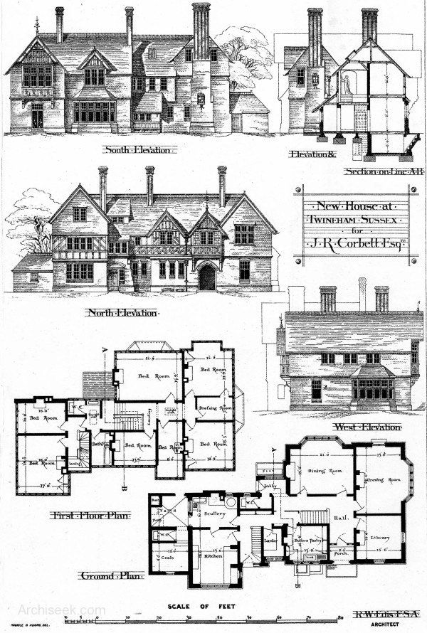 1875 – New House, Twineham, Sussex Architect: Robert W. Edis Designed for for J.R. Corbett esq with North, South, West Elevations & Section including ground plans & 1st floor plans published in The Building News, January 1st 1875.