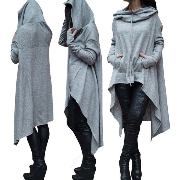 a25bdee272d Women's Fashion Solid Color Draw Cord Coat Long Sleeve Loose Casual ...