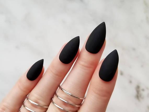 Classic Matte Black Press On Nails Any Shape Nail Glue Or Etsy Black Stiletto Nails Black Acrylic Nails Matte Black Nails
