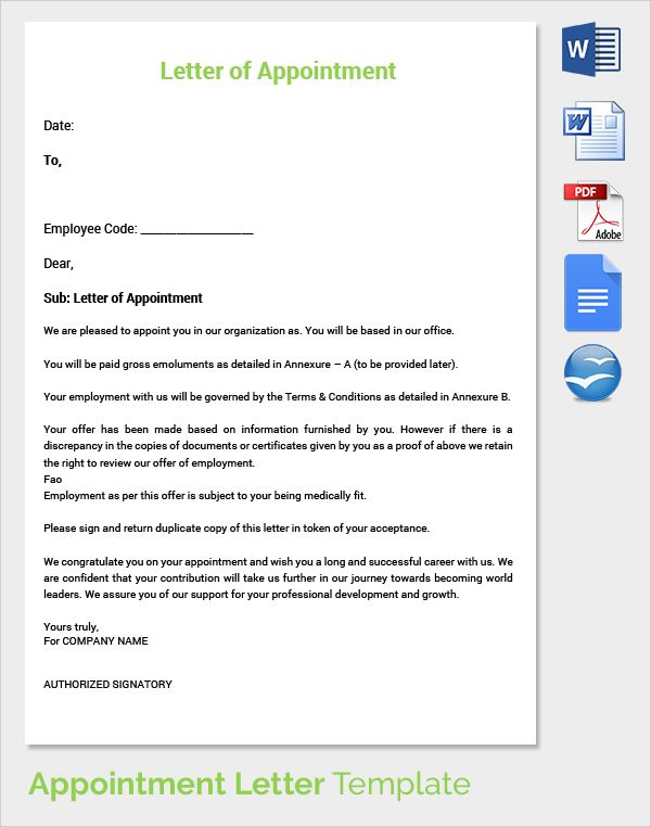 Letter Of Appointment Template destop Pinterest Appointments - sample letter of appointment