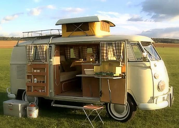 VW C&ervan pop up roof & Funky VW bus camper. I sometimes fantasize about living like this ...