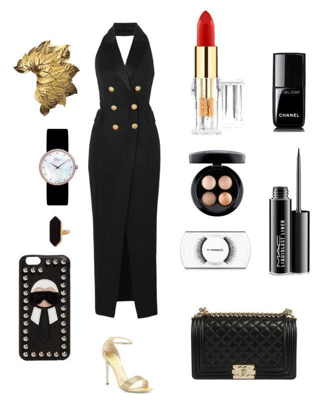 """Rich B*tch✨"" by juliesunicorn on Polyvore featuring мода, Balmain, René Caovilla, Chanel, MAC Cosmetics, Jaeger, Christian Dior и Fendi"