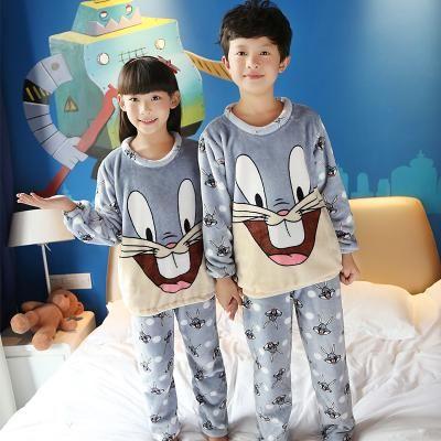 f56866017 2017 Winter Children Fleece Pajamas Warm Flannel Sleepwear Girls ...
