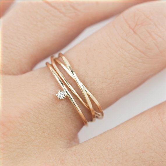 Einfache Verlobungsring Set Minimalistische Verlobungsring Set Moderne Hochzeit Band Zarte Kleine Diamant 14 K Massives Gold Rosegold Weissgold Vintage Yuzukler Alyans Bling Bling